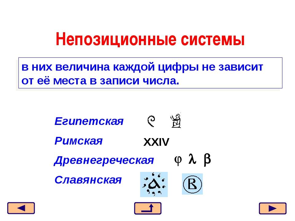 Непозиционные системы в них величина каждой цифры не зависит от её места в за...