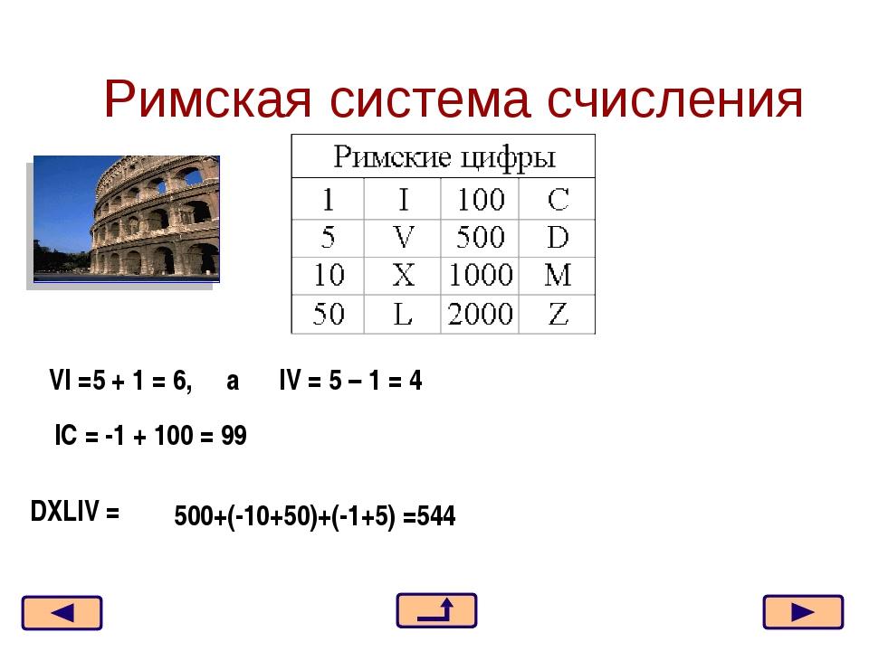 Римская система счисления VI =5 + 1 = 6, a IV = 5 – 1 = 4 IC = -1 + 100 = 99...