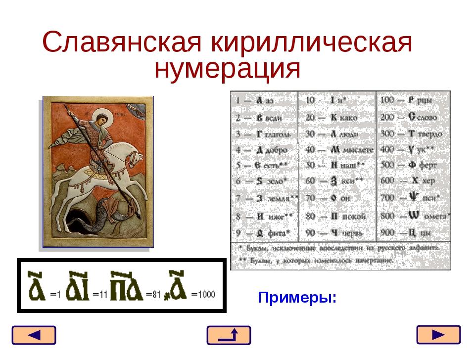 Славянская кириллическая нумерация Примеры: * из 21