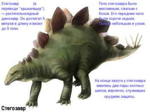 На конце хвоста у стегозавра имелись две пары костных шипов, вероятно, служи