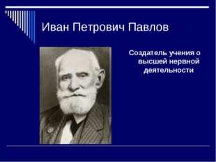 Иван Петрович Павлов Создатель учения о высшей нервной деятельности