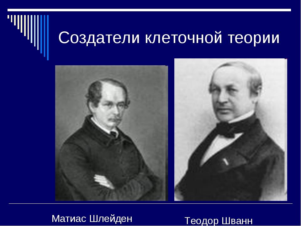 Создатели клеточной теории Матиас Шлейден Теодор Шванн