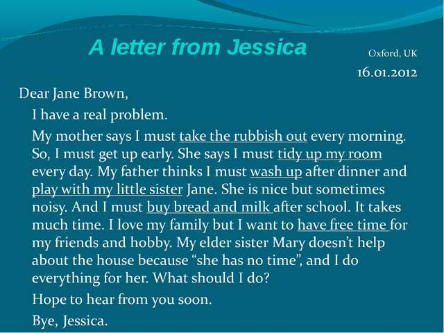 A letter from Jessica