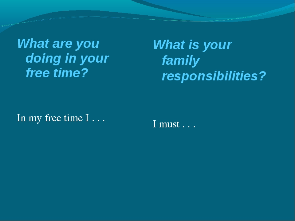 What are you doing in your free time? In my free time I . . . What is your fa...