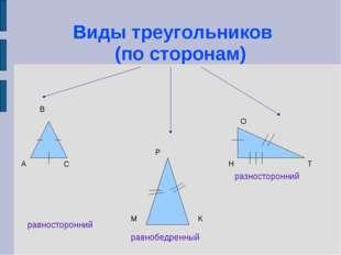 Виды треугольников (по сторонам) равносторонний равнобедренный разносторонни