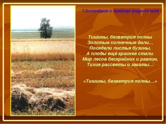 Тишины, безветрия полны Золотые солнечные дали… Поседели листья бузины, А пло...