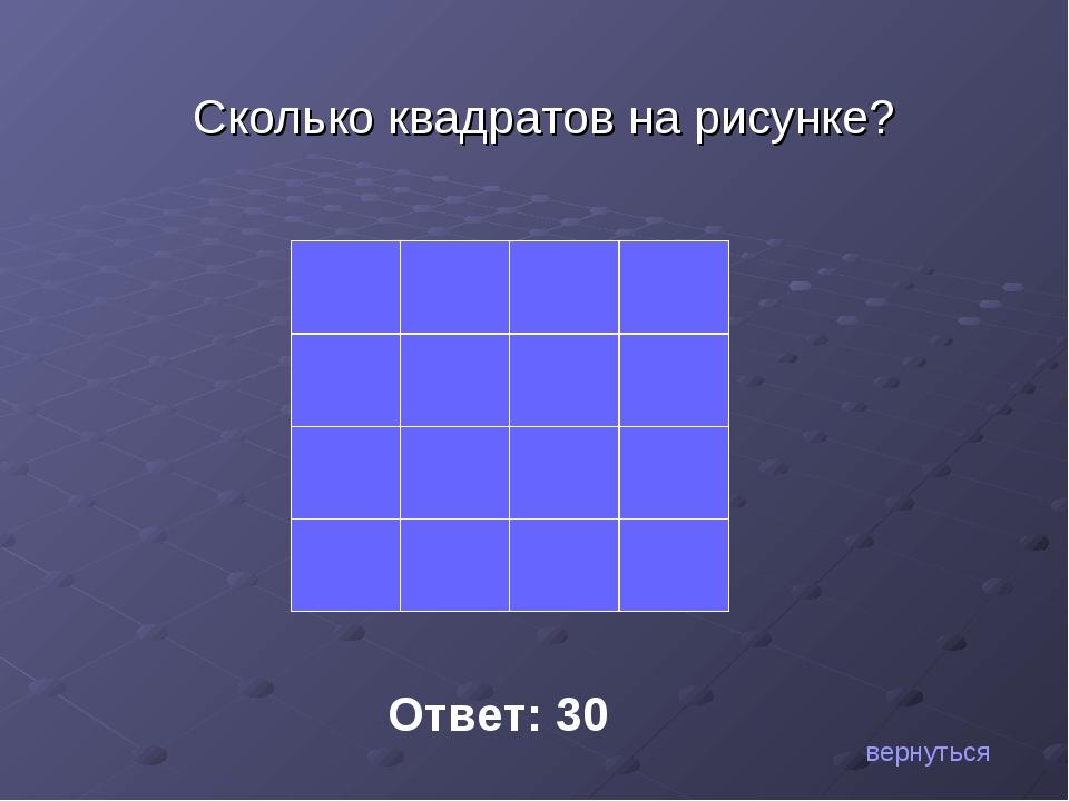 Сколько квадратов на рисунке? Ответ: 30 вернуться