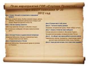 План мероприятий ГОЛ «Спутник Прометея» при МБОУ гимназии № 35 2012 год День