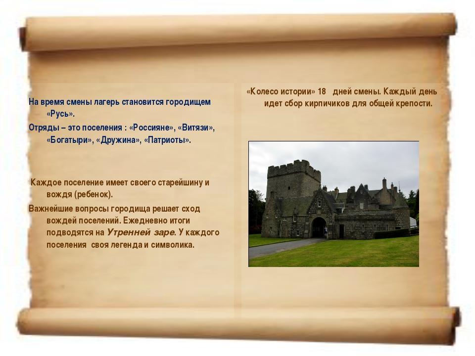 На время смены лагерь становится городищем «Русь». Отряды – это поселения :...