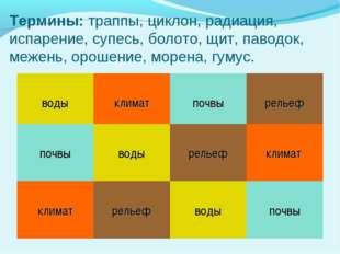 Термины: траппы, циклон, радиация, испарение, супесь, болото, щит, паводок, м