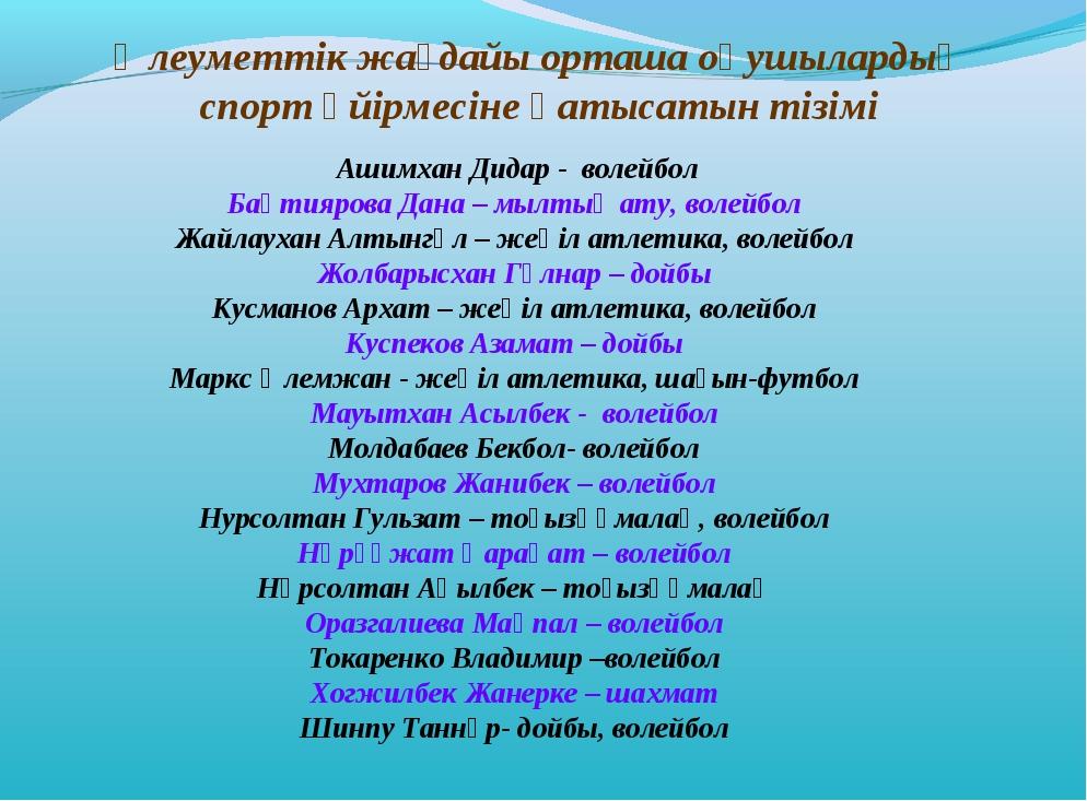 Ашимхан Дидар - волейбол Бақтиярова Дана – мылтық ату, волейбол Жайлаухан Ал...
