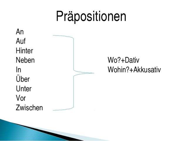 An Auf Hinter NebenWo?+Dativ InWohin?+Akkusativ Über Unter Vor Zwisc...