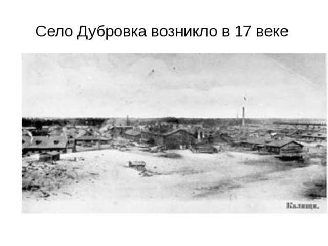 Село Дубровка возникло в 17 веке