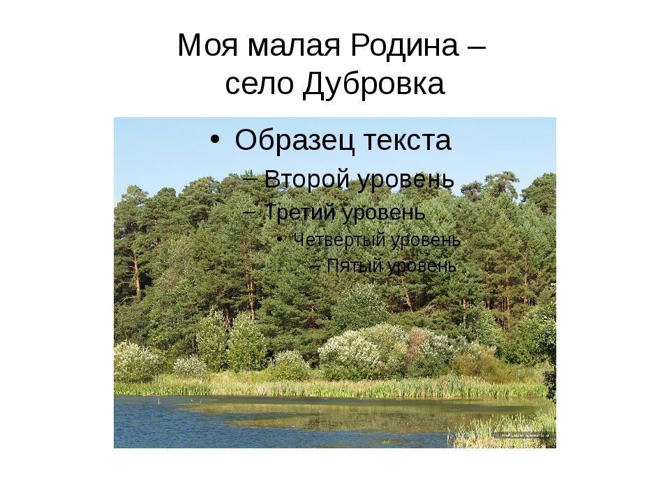 Моя малая Родина – село Дубровка