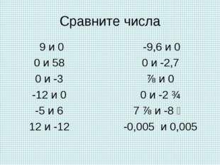 Сравните числа 9 и 0 0 и 58 0 и -3 -12 и 0 -5 и 6 12 и -12 -9,6 и 0 0 и -2,7