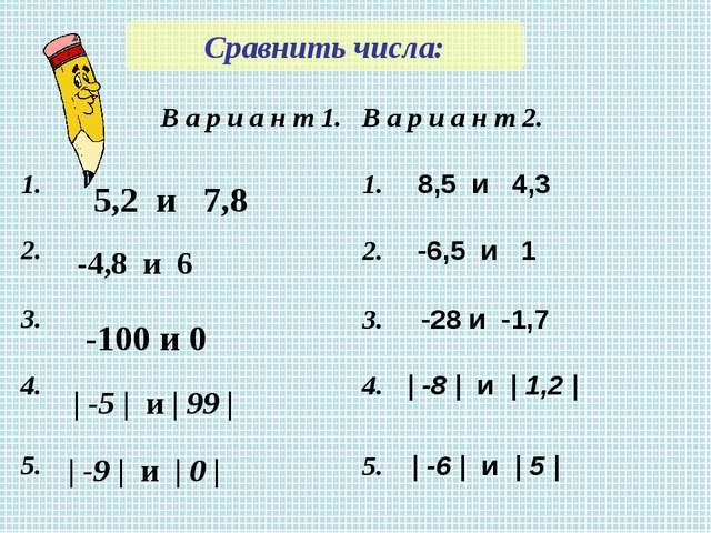 Сравнить числа: 5,2 и 7,8 -4,8 и 6 -100 и 0 | -5 | и | 99 | | -9 | и | 0 | В...