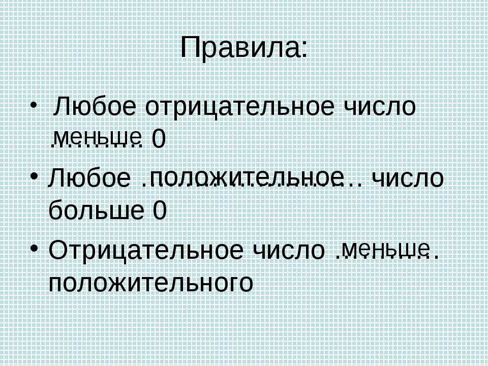 Правила: Любое отрицательное число ……….. 0 Любое ……………………. число больше 0 Отр...
