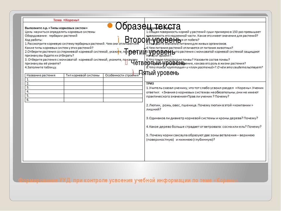 Формирование УУД при контроле усвоения учебной информации по теме «Корень»