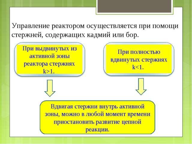 Управление реактором осуществляется при помощи стержней, содержащих кадмий ил...