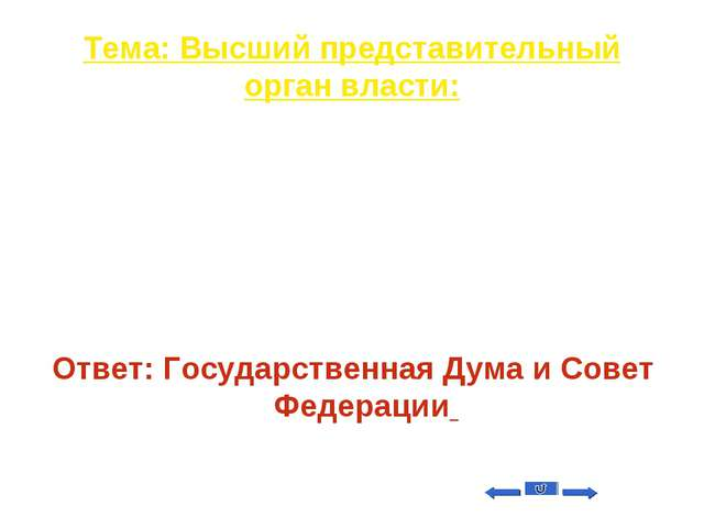 Тема: Высший представительный орган власти: Вопрос на 20 Федеральное Собрание...