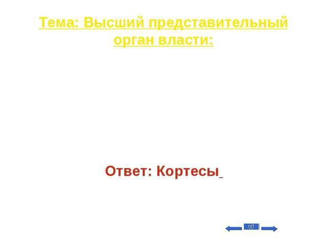 Тема: Высший представительный орган власти: Вопрос на 30 Название парламента...