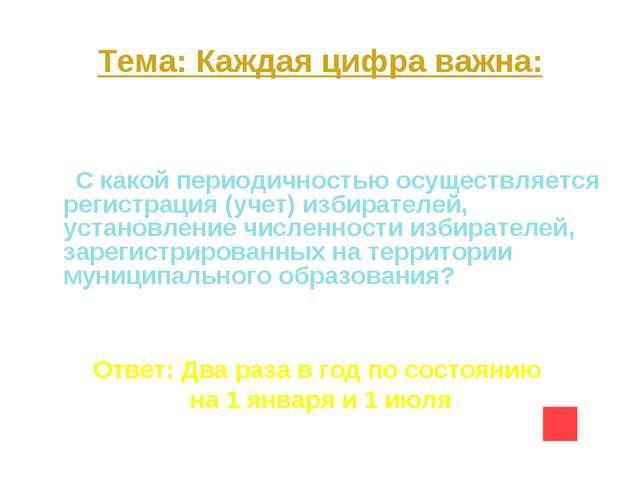Тема: Каждая цифра важна: Вопрос на 20 С какой периодичностью осуществляется...