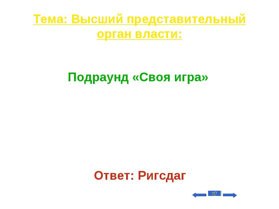 Тема: Высший представительный орган власти: Вопрос на 50 Подраунд «Своя игра»...