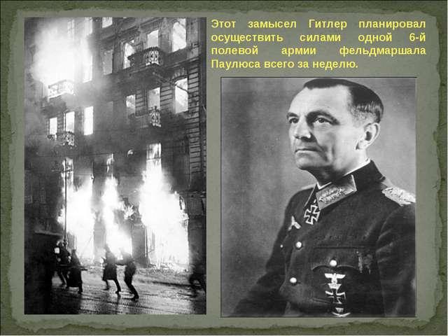 Этот замысел Гитлер планировал осуществить силами одной 6-й полевой армии фел...