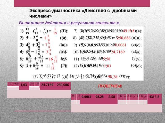 Экспресс-диагностика «Действия с дробными числами» Выполните действия и резул...
