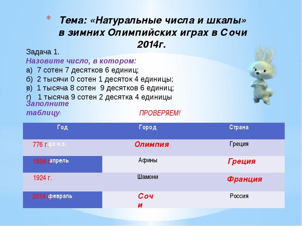 Тема: «Натуральные числа и шкалы» в зимних Олимпийских играх в Сочи 2014г. ;...