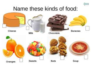 Name these kinds of food: Cheese Milk Chocolate Bananas Oranges Sweets Nuts S