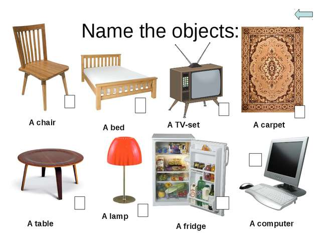 Name the objects: A chair A bed A TV-set A carpet A table A lamp A fridge A c...