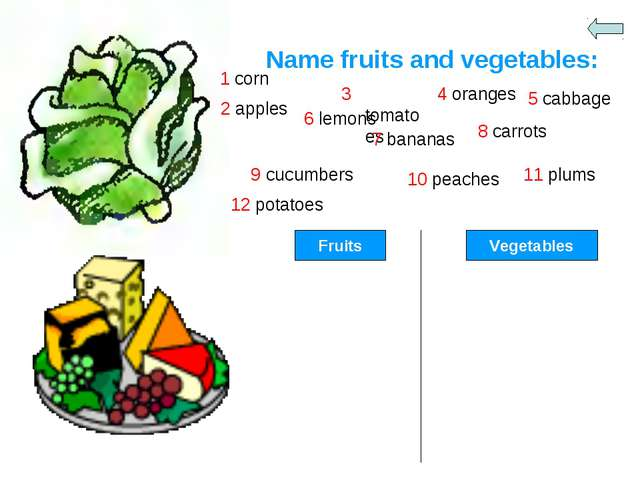Name fruits and vegetables: 1 corn 2 apples 3 tomatoes 4 oranges 5 cabbage 12...