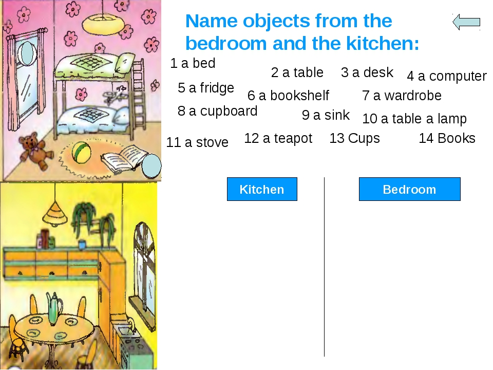 Name objects from the bedroom and the kitchen: 1 a bed 5 a fridge 2 a table 3...