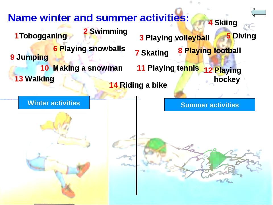 Name winter and summer activities: 2 Swimming 1Tobogganing 3 Playing volleyba...