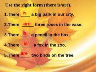 Use the right form (there is/are). 1.There ____ a big park in our city. 2.Th