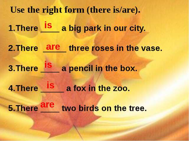Use the right form (there is/are). 1.There ____ a big park in our city. 2.Th...