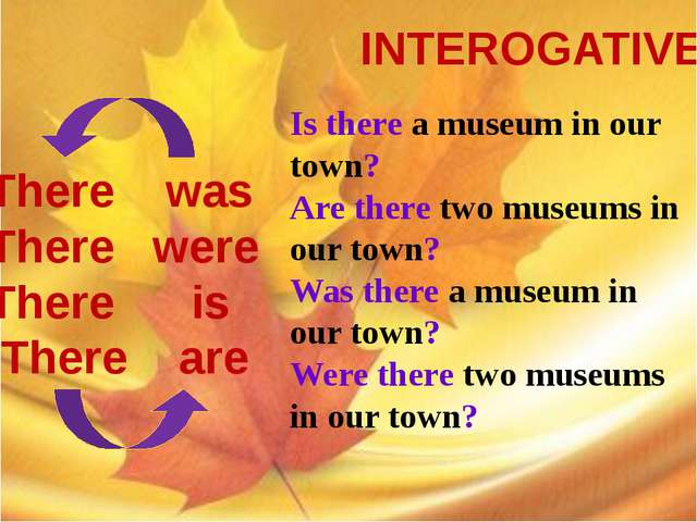 INTEROGATIVE There was There were There is There are Is there a museum in ou...