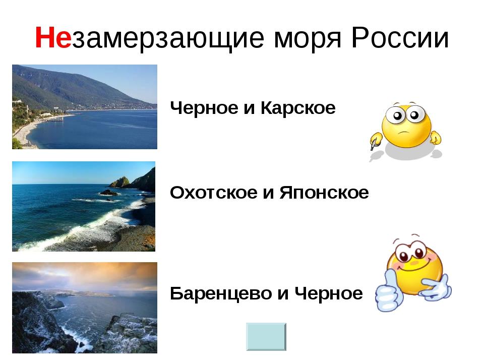 Незамерзающие моря России Баренцево и Черное