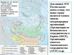 Для оценки ЭГП России важно иметь в виду, что наша страна является членом мно