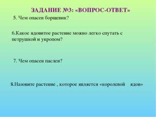 5. Чем опасен борщевик? ЗАДАНИЕ №3: «ВОПРОС-ОТВЕТ» 6.Какое ядовитое растение