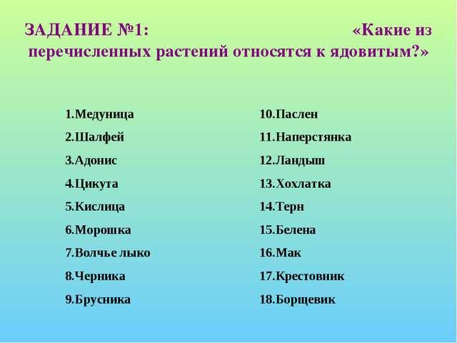 ЗАДАНИЕ №1: «Какие из перечисленных растений относятся к ядовитым?» 1.Медуниц...