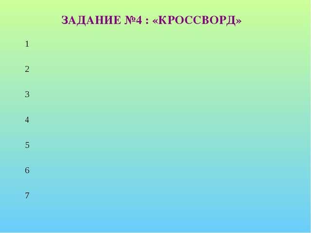 ЗАДАНИЕ №4 : «КРОССВОРД»