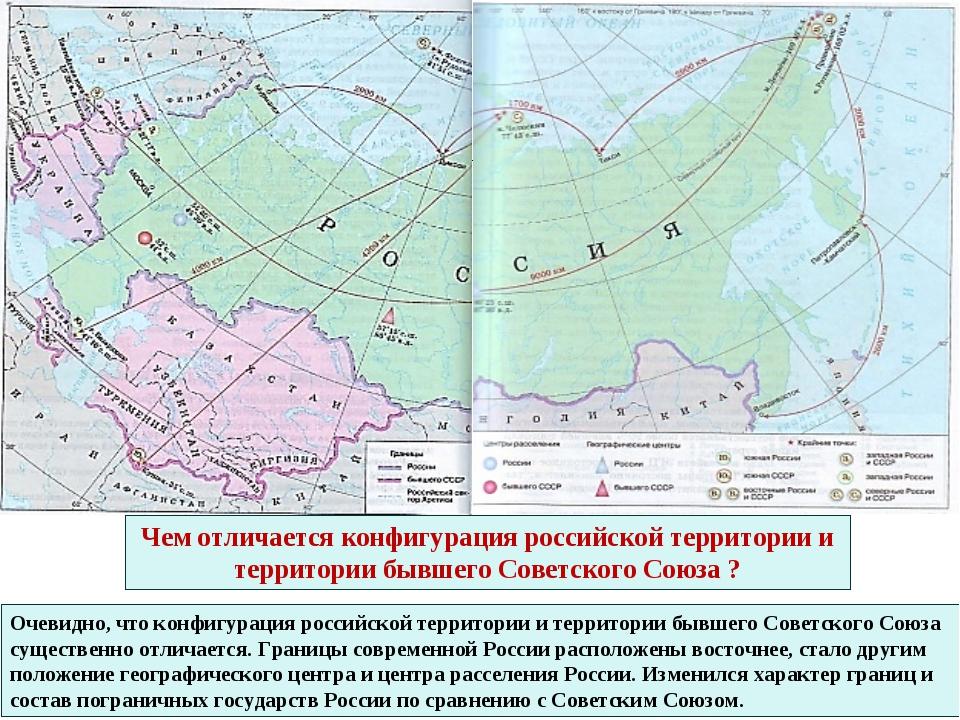 Очевидно, что конфигурация российской территории и территории бывшего Советск...