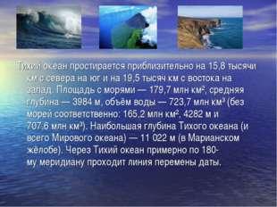 Тихий океан простирается приблизительно на 15,8 тысячи км с севера на юг и на