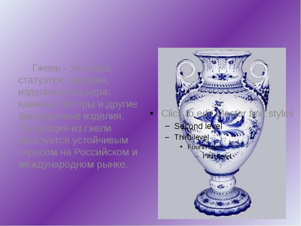 Гжель - это вазы, статуэтки, игрушки, изделия интерьера: камины, люстры и др...