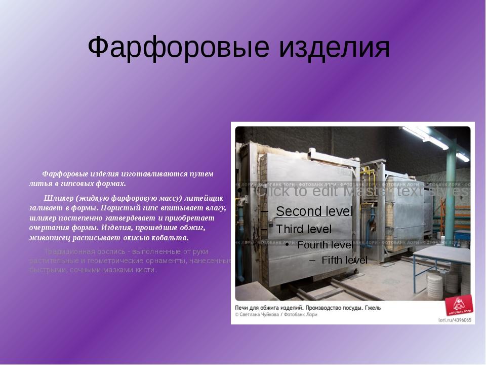 Фарфоровые изделия Фарфоровые изделия изготавливаются путем литья в гипсовых...
