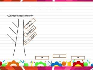 Глагол Глагол « Дерево предсказаний» ? Обозначает Часть речи Вопросы ? ?