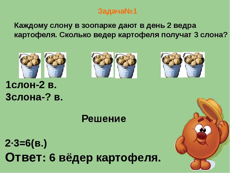 Задача№1 Каждому слону в зоопарке дают в день 2 ведра картофеля. Сколько вед...