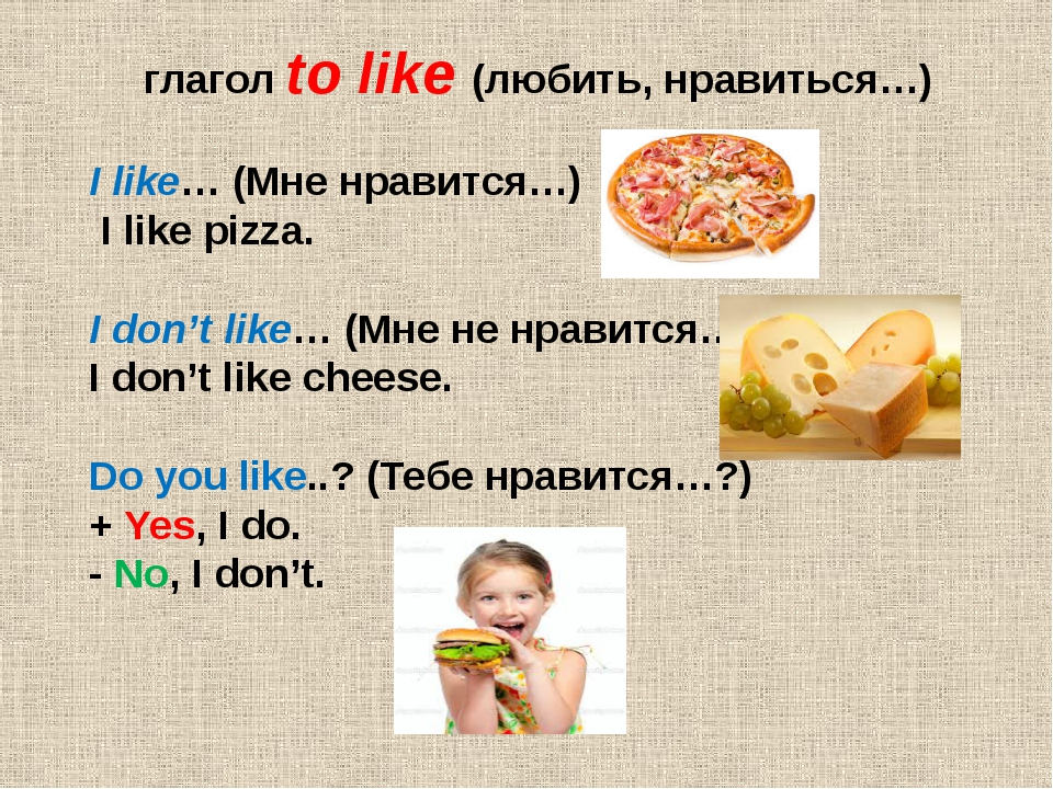 глагол to like (любить, нравиться…) I like… (Мне нравится…) I like pizza. I...